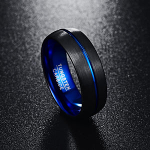 8mm Blue Plated Tungsten Carbide Ring With Matte Finish Grooved
