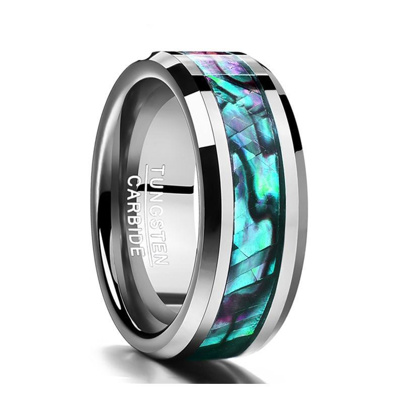 8MM Inlaid Abalone Shell Beveled Tungsten Carbide Ring Jewelry For Wedding Party Finger Rings