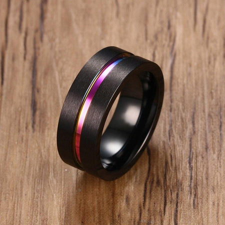 8mm Men Black Stainless Steel Ring Thin Rainbow Line - GiftWorldStyle - Luxury Jewelry and Accessories