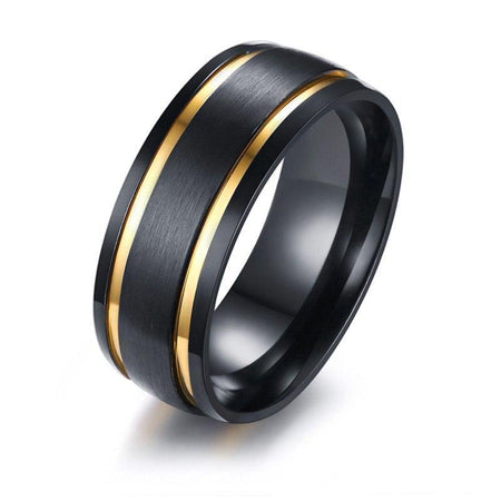 8MM Men Brushed Bands Ring - Gold Tone Double Grooved - GiftWorldStyle - Luxury Jewelry and Accessories