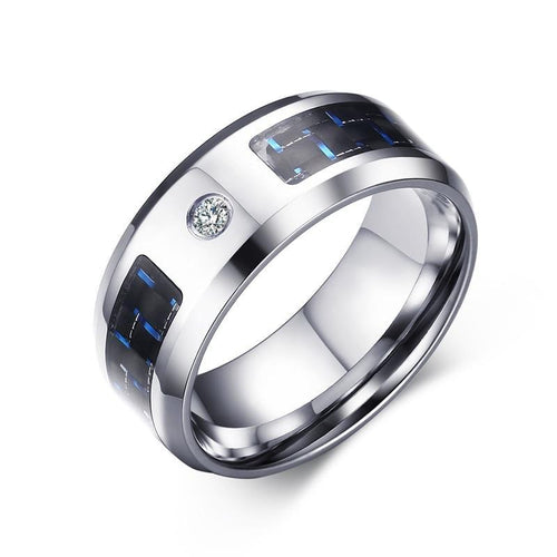 8mm Ring With Zircon And Blue Carbon Fiber - GiftWorldStyle - Luxury Jewelry and Accessories