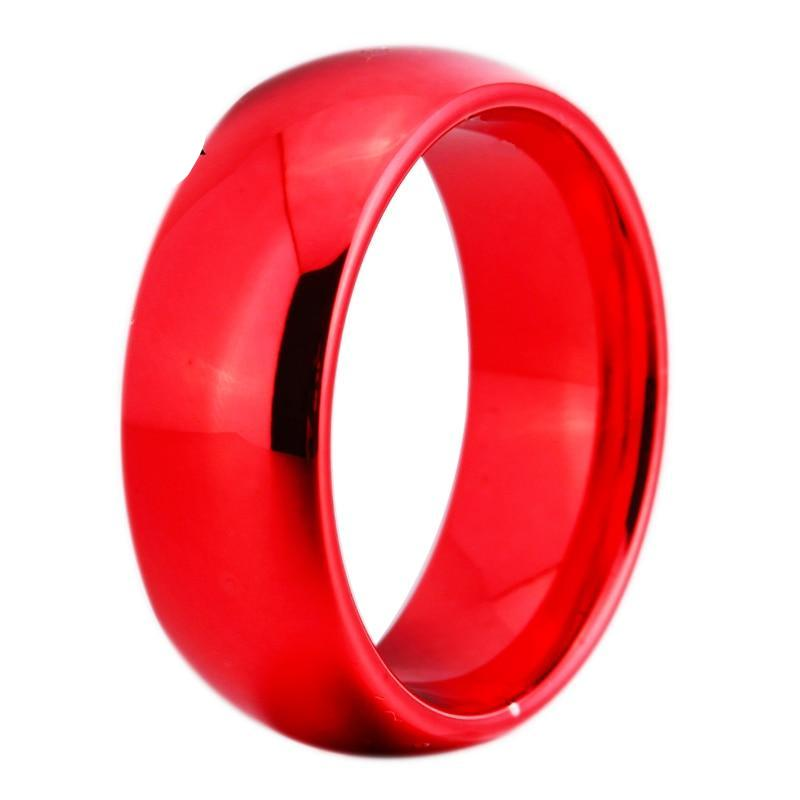8MM Width Red Color Domed Tungsten Carbide Wedding Ring