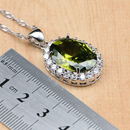 925 Silver Bridal Jewelry Olive Green Cubic Zirconia Sets Women Earrings Pendant Rings Bracelet Necklace Set