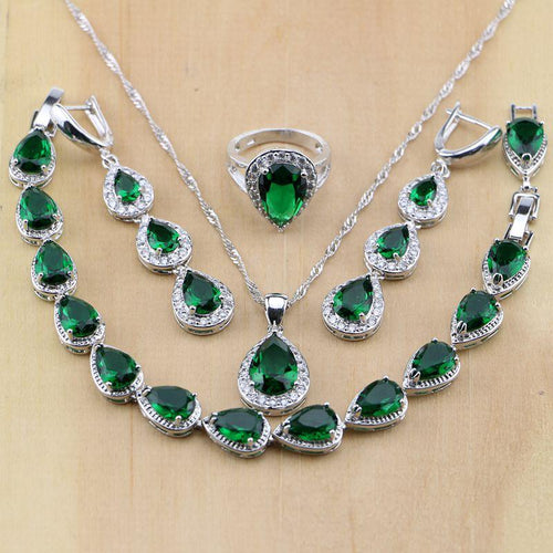925 Sterling Silver Water Drop Emerald White CZ Women Jewelry Sets Earrings Pendant Necklace Rings Bracelet