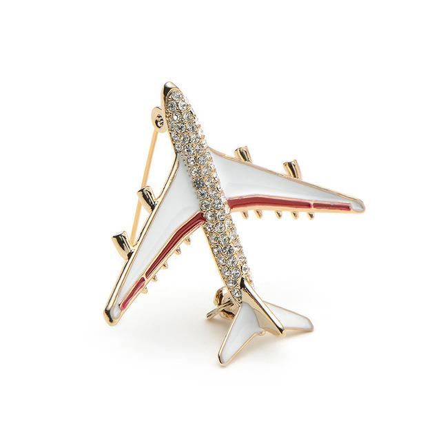 Alloy Airplane Brooch Pins Rhinestone Red Plane Brooches Aircraft Scarf Buckle