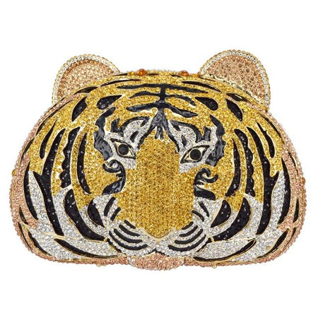 Crystal Full Diamond Luxury Evening Bag In Tiger Head Shape - GiftWorldStyle - Luxury Jewelry and Accessories