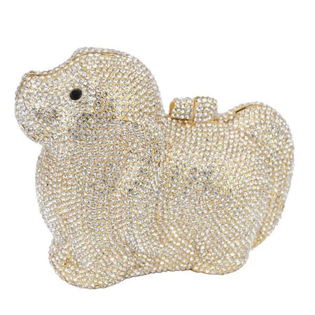 Crystal Clutches Bag With Diamonds And Chain In Dog Shape - GiftWorldStyle - Luxury Jewelry and Accessories