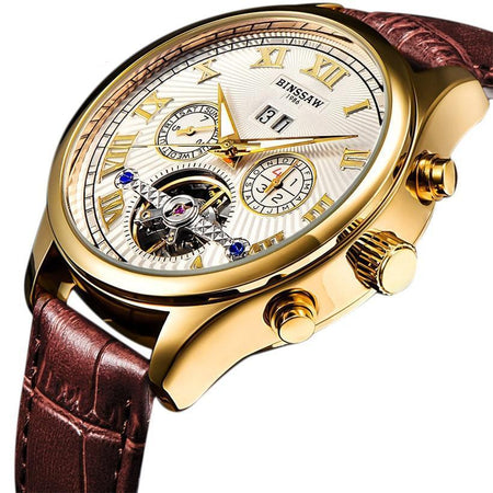 Automatic Mechanical Watch Tourbillon Leather Multi-functional Watches - GiftWorldStyle - Luxury Jewelry and Accessories