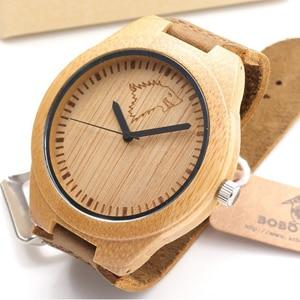 Bamboo Watch Men Women Wooden Timepieces Real Leather Band Quartz Watch Accept Engraving - GiftWorldStyle - Luxury Jewelry and Accessories