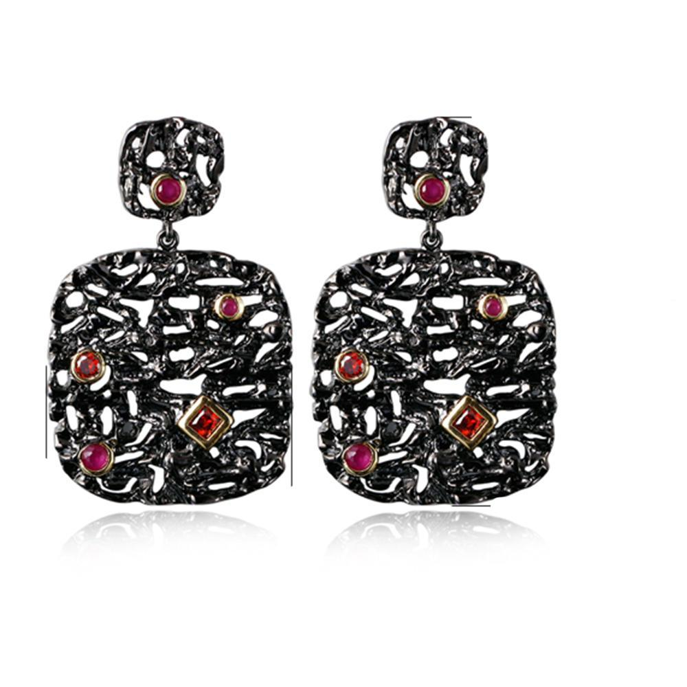 Beautiful Trendy Earrings And Suspension Black Plate Female Big Square Pendant 2 Pcs Jewelry Sets