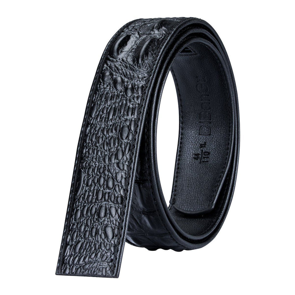 Belt For Men With Crocodile Genuine Leather - Three Metal Buckles