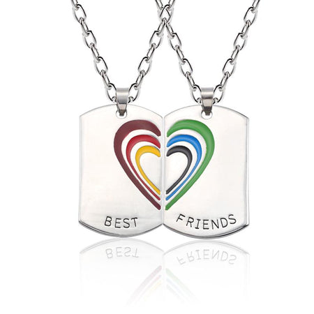 Best Friends Necklace Silver Square Pendant Women Broken Heart Rainbow Choker Keepsake