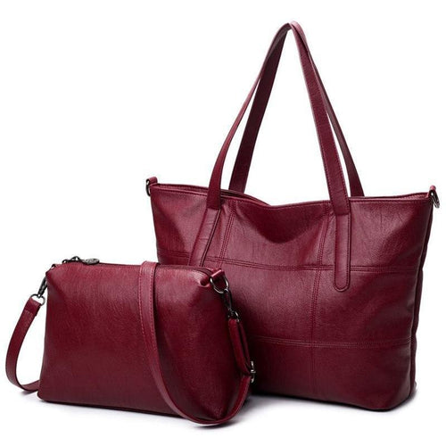 Big Leather Bag Women Handbags Plaid Women Shoulder Bags Tote Soft Female Bag Sac - GiftWorldStyle - Luxury Jewelry and Accessories