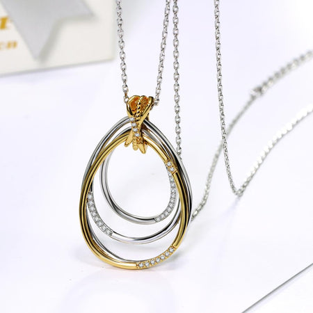 Big Water Crystal Pendant Necklace Gold And White Color Pendants Jewelry For Women