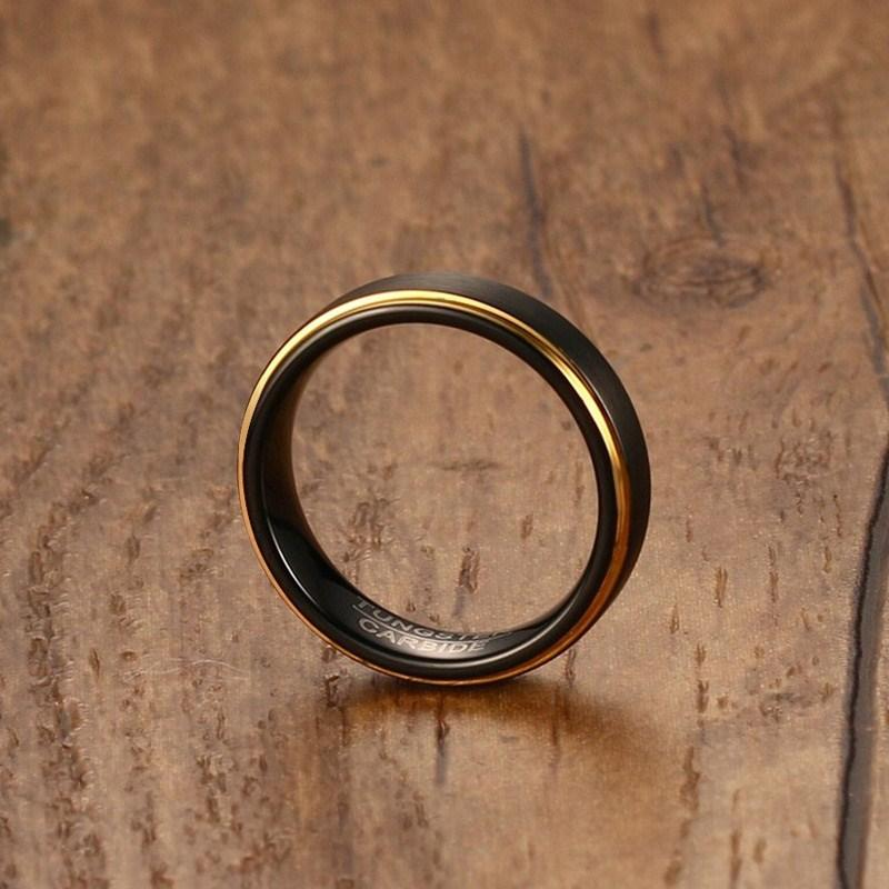 Black And Gold Wedding Tungsten Ring