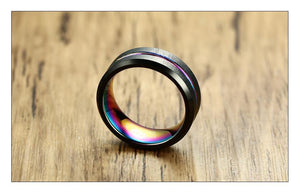Black Brushed Tungsten Carbide Wedding Ring For Men Women Wedding Bands Rainbow Carbon Fiber Groove Jewelry