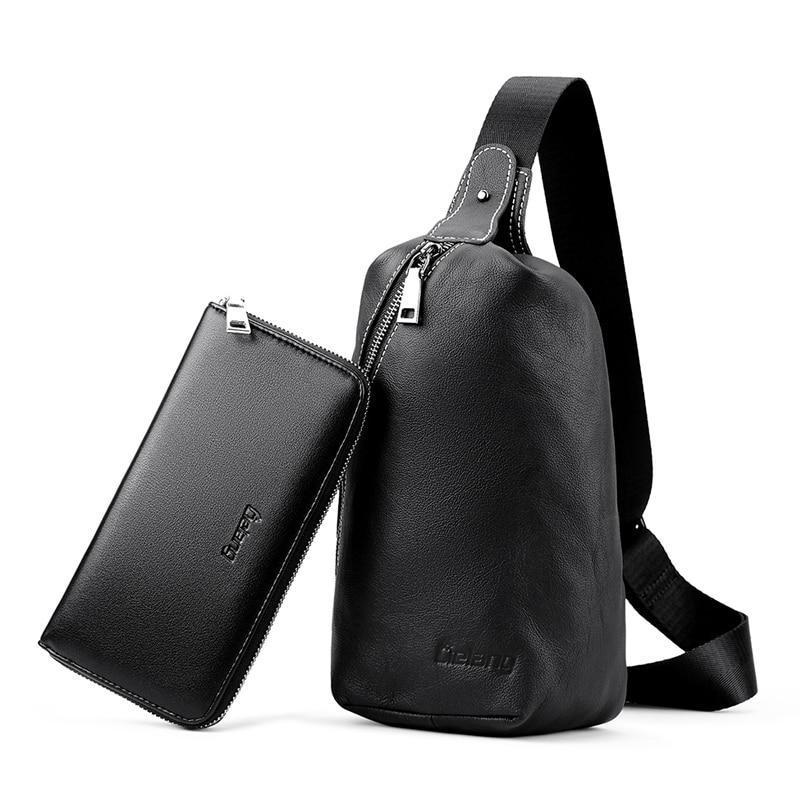 Black Genuine Leather Chest Pack With Wallet - Set - GiftWorldStyle - Luxury Jewelry and Accessories