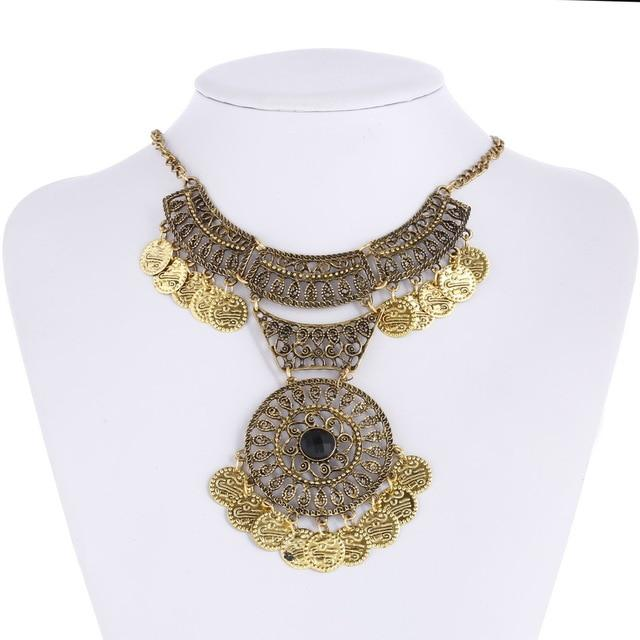 Bohemian Fringe Tassel Collar Statement Necklace Vintage Silver Festival Ethnic Chunky Pendants Necklace