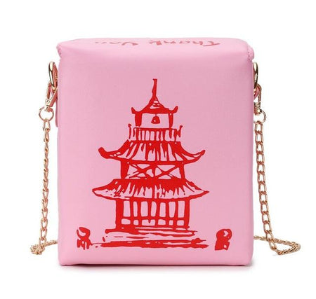 Box Chinese Tower Print Pu Leather Ladies Bucket Bag Chain Shoulder Crossbody Mini Bag