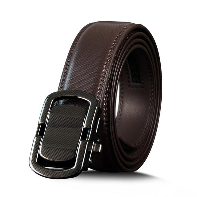 Business Style Genuine Leather Belt  - Metal Automatic Buckle