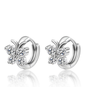 Butterfly Design Stud Earrings - 925 Sterling Silver, Crystals
