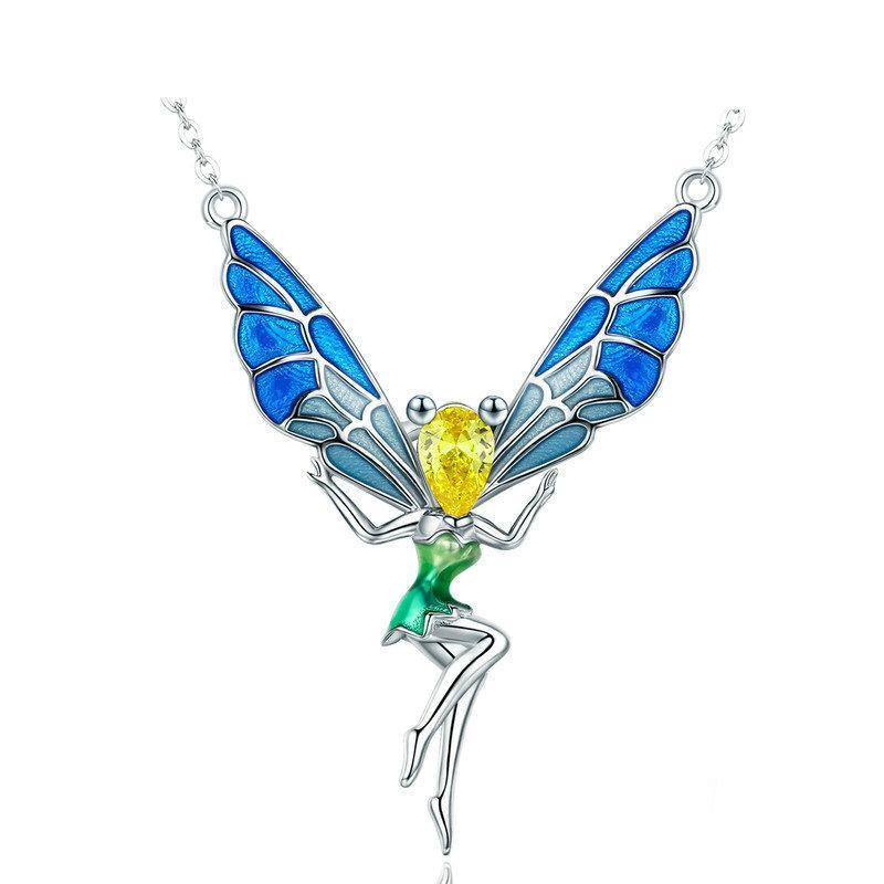 Butterfly Fairy Pendant Necklace For Women - Sterling Silver - GiftWorldStyle - Luxury Jewelry and Accessories