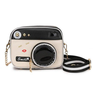 Camera Pattern Girl Pu Handbag - Crossbody Bag