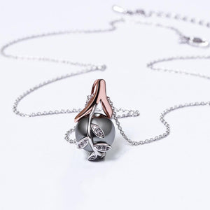 Charms Suspension Silver And Rose Gold Color Grey Pearl Cubic Zircon Crystal Jewelry Pendant Necklace