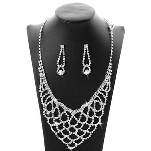 Classic Crystal Wedding Jewelry Sets Women Clear Rhinestone Silver Plated Necklace Set Bridal Engagement