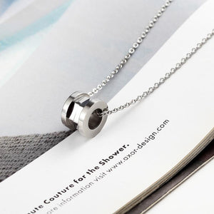 Classic Semicircle And Inner Bevel Titanium Steel Woman Necklace Pendant Texture Jewelry For Woman