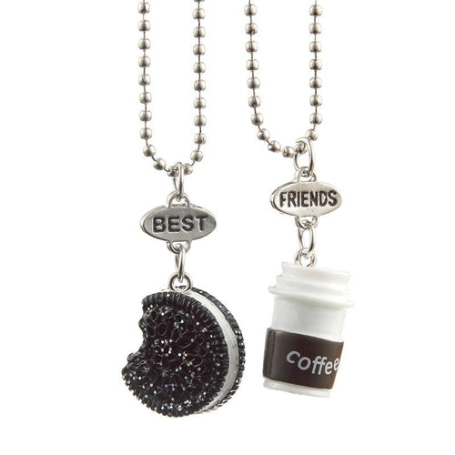 Black Coffee Cup Necklace With Rectangle Cookie For Friends - GiftWorldStyle - Luxury Jewelry and Accessories