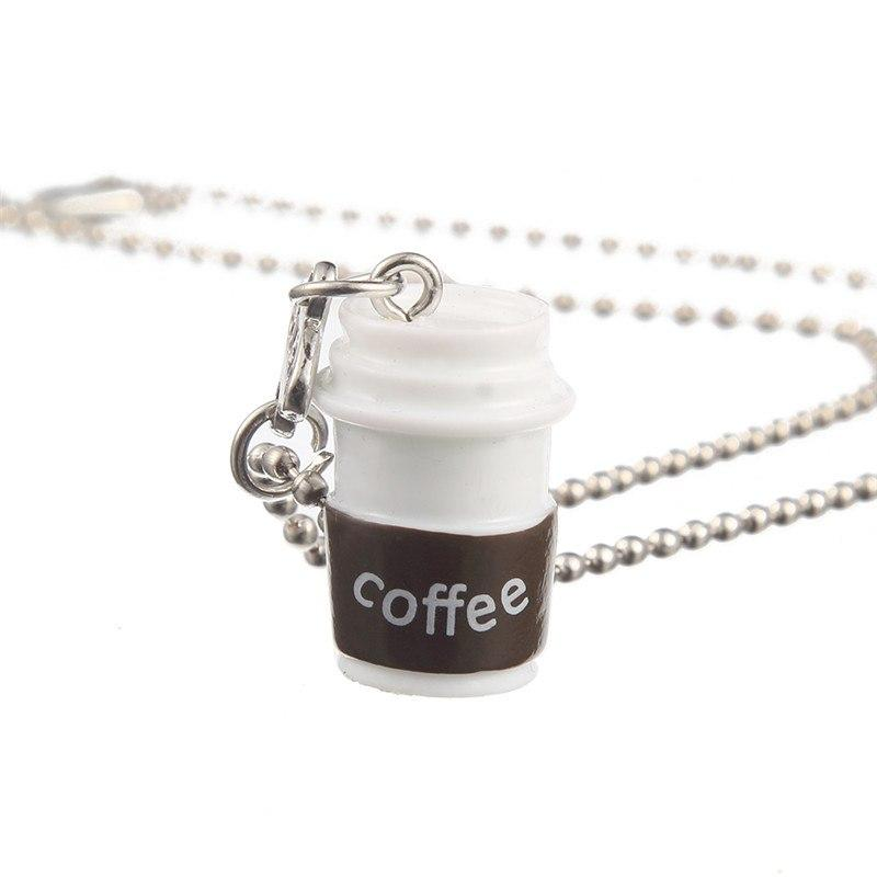 Coffee Cup Black Cookie Pendant Necklace Rectangle Pendant For Best Friends Gifts