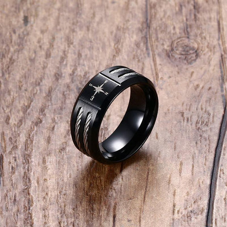Compass Black Men Ring - Twisted Alliance, Stainless Steel - GiftWorldStyle - Luxury Jewelry and Accessories