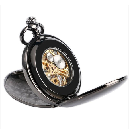 Cool Black Double Hunter Mechanical Pocket Watches Roman Number Skeleton Dial Watch Chain