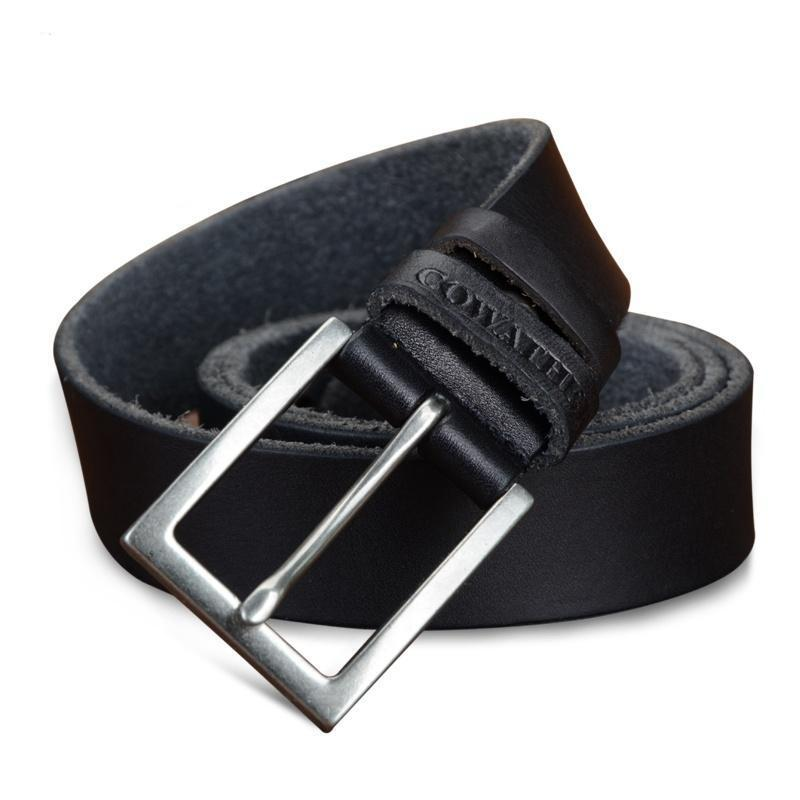 Cowhide Leather Belt With Classic Metal Buckle