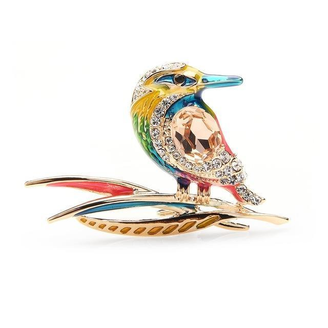 Crystal Blue Purple And Green Enamel Bird Brooches Alloy Animal Wedding Party Banquet Brooch