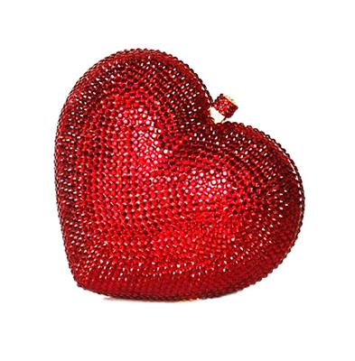 Crystal Red Heart Evening Bag With Diamonds, Beading - GiftWorldStyle - Luxury Jewelry and Accessories