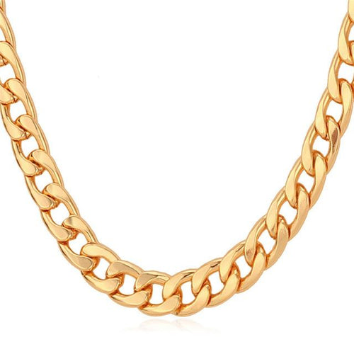Cuban Link Chain Necklace Rose Gold/Black Gun/Silver/Gold Color 7MM Long/Choker Men Jewelry Hip Hop