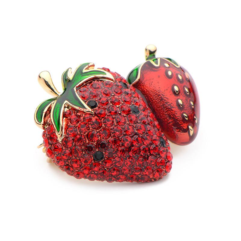 Cute Red Crystal Enamel Strawberry Brooches Alloy Fruits Weddings Banquet Party Brooches