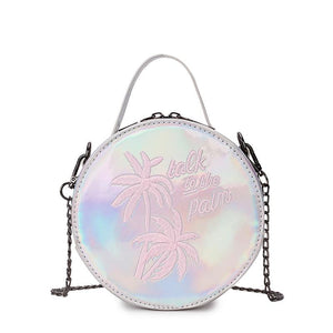 Dazzling Laser Embroidered Coconut Tree Ladies Mini Shoulder Bag - GiftWorldStyle - Luxury Jewelry and Accessories