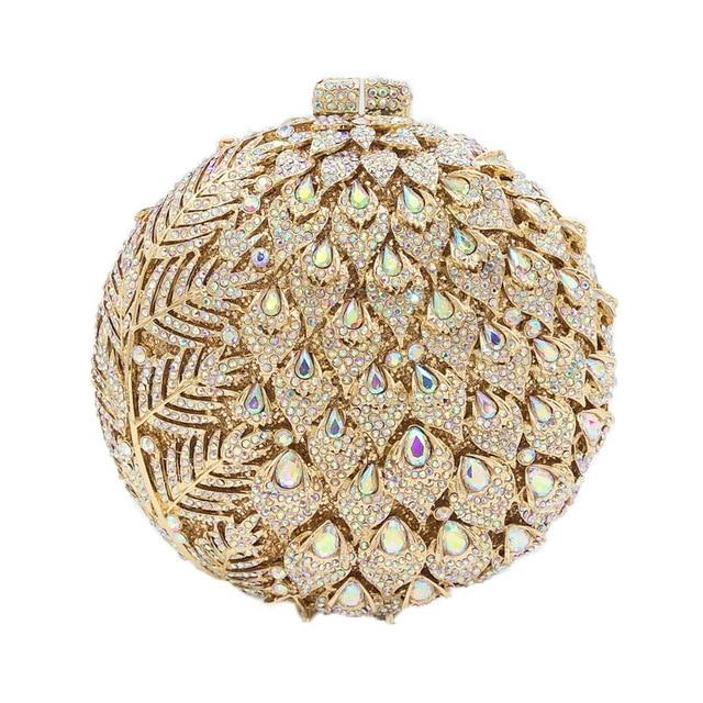 Dazzling Round  Women Flower Clutch Bag  - Bridal Handbag - GiftWorldStyle - Luxury Jewelry and Accessories