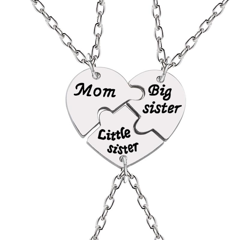 DIY 3 Pcs Mum Big Sister Little Sister Necklaces Women Heart Silver Pendant Keepsake
