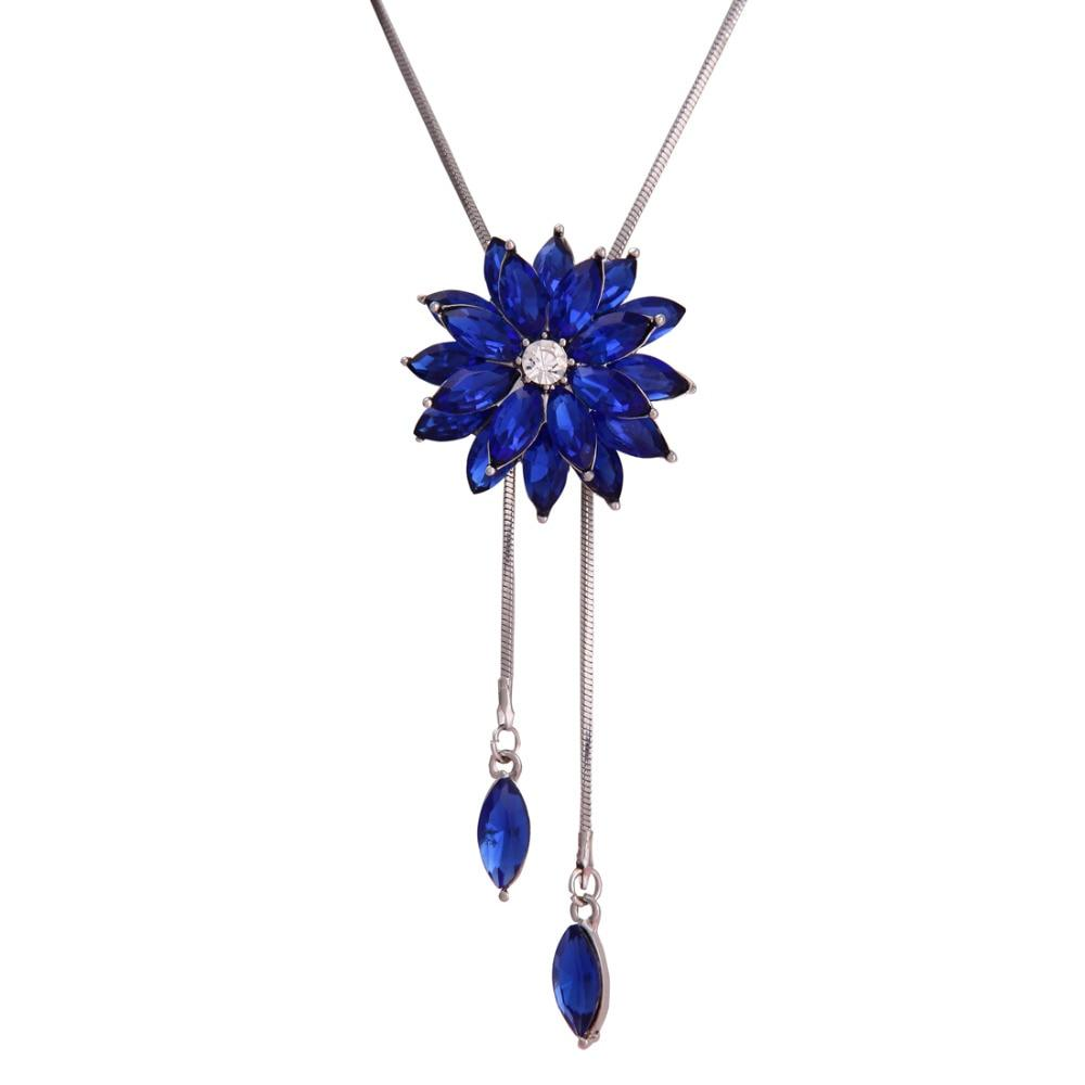 Dominated Women A Long Flower Sweater Chain Female Accessories And Simple Crystal Pendant