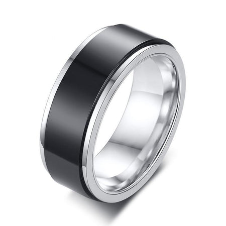 Double Layered 8mm Rotatable Black Ring For Men - Stainless Steel