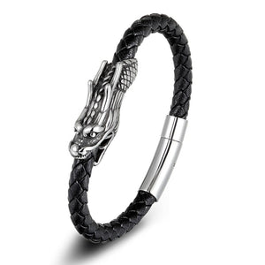 Dragon Pattern Genuine Leather Bracelet With Magnetic Clasp - GiftWorldStyle - Luxury Jewelry and Accessories