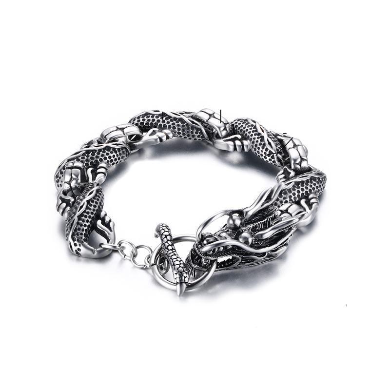 Dragon Punk Bracelet With Toggle Clasp - Stainless Steel