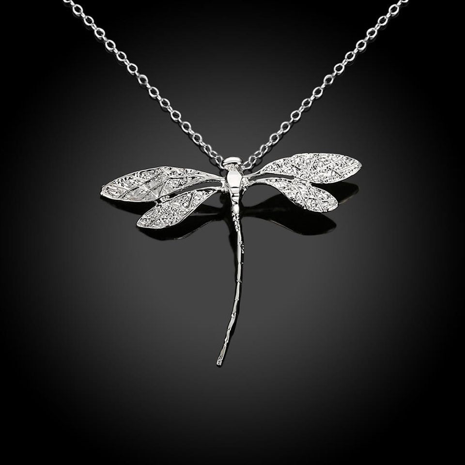 Dragonfly Necklace With Silver Plated Pendant For Women - GiftWorldStyle - Luxury Jewelry and Accessories