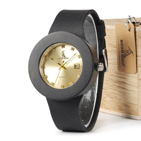 Ebony Wooden Watch with Soft Leather Band Quartz Gold Analog Calendar Movement Accept - GiftWorldStyle - Luxury Jewelry and Accessories