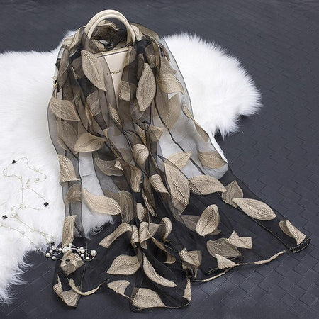 Embroidered Transparent Scarf From Organza With Flower Print - GiftWorldStyle - Luxury Jewelry and Accessories