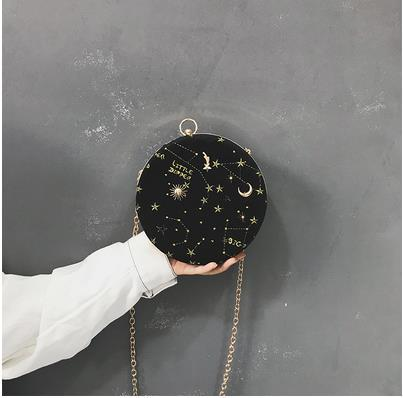 Embroidered Star Pattern Round Ladies Shoulder Handbag